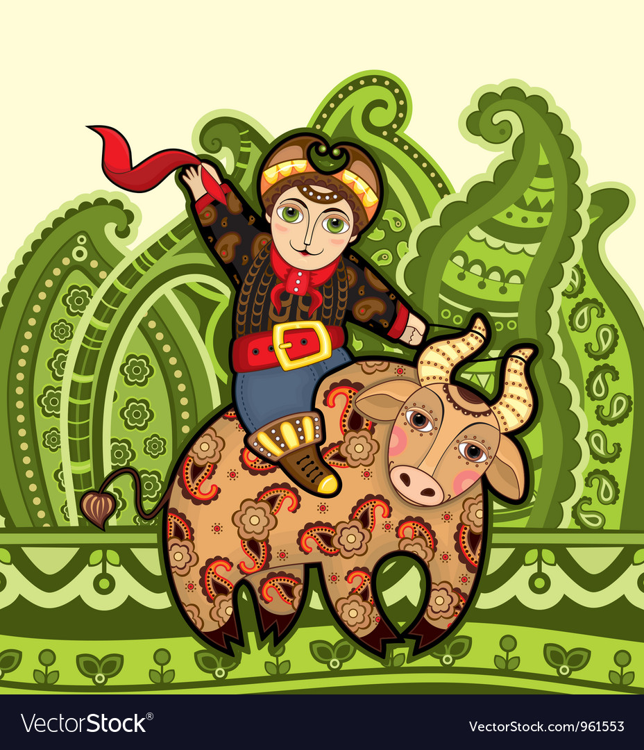 Man bull rodeo vector | Price: 1 Credit (USD $1)