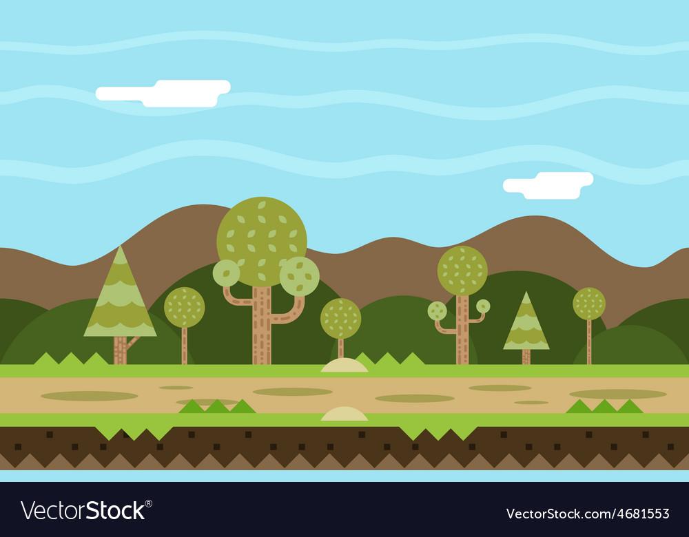 Seamless road nature concept flat design landscape vector | Price: 1 Credit (USD $1)