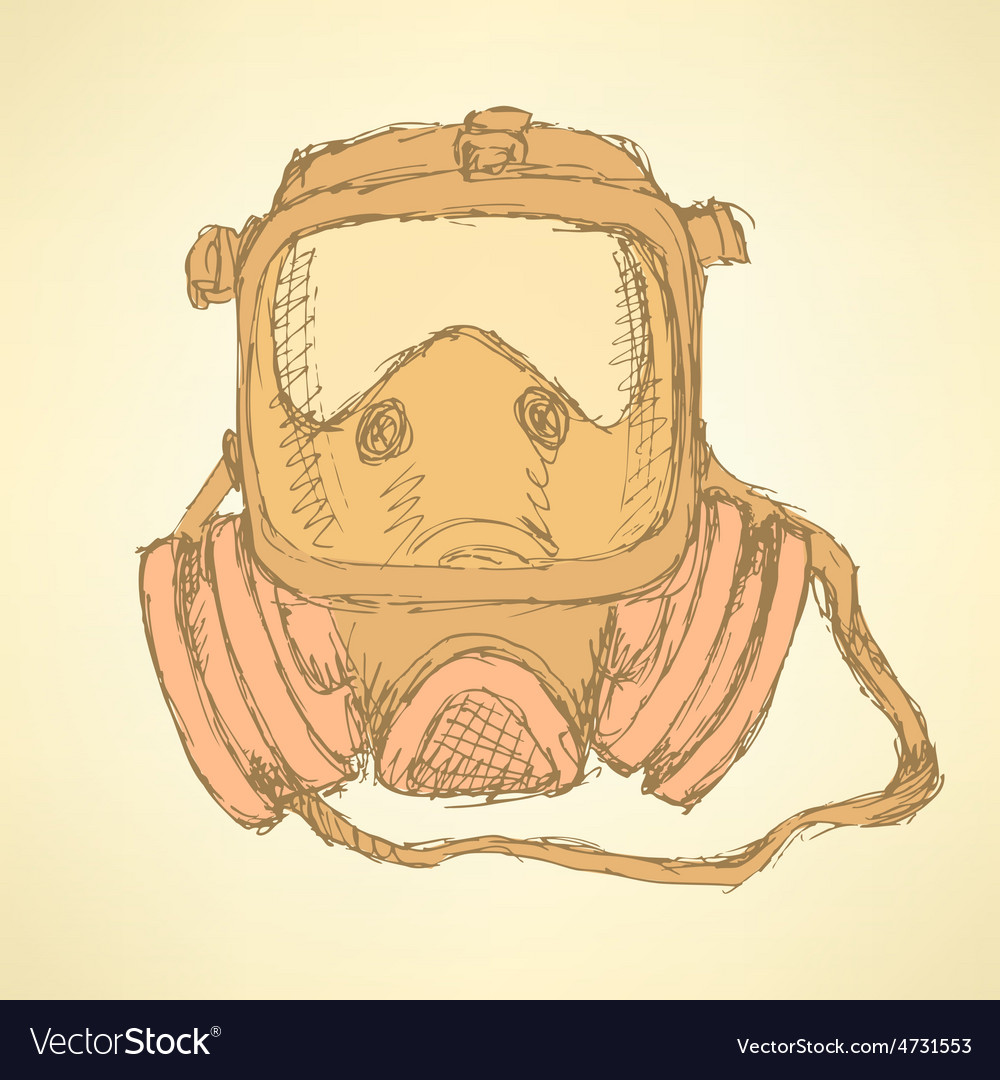 Sketch respiratory mask in vintage style vector | Price: 1 Credit (USD $1)