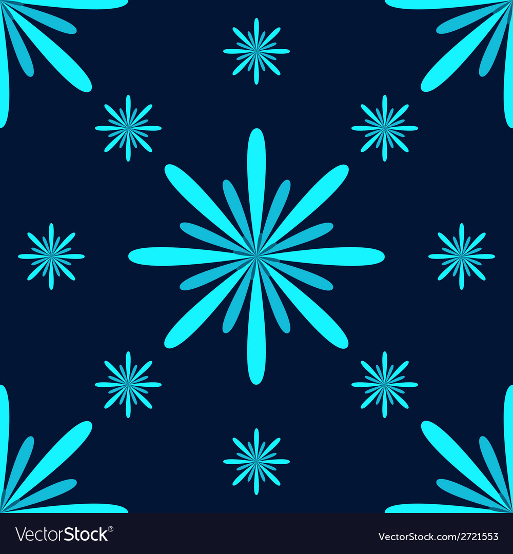 Turquoise flowers seamless pattern vector | Price: 1 Credit (USD $1)
