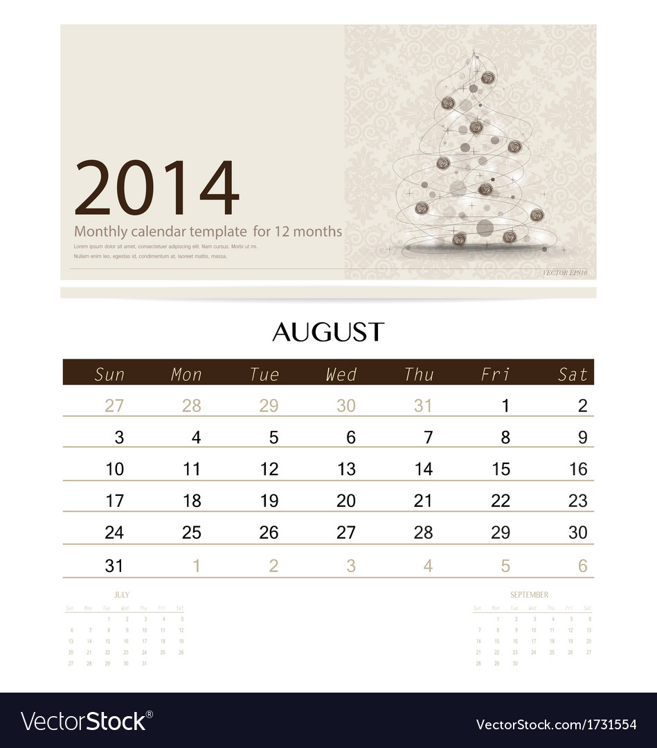 2014 calendar monthly calendar template for august vector | Price: 1 Credit (USD $1)