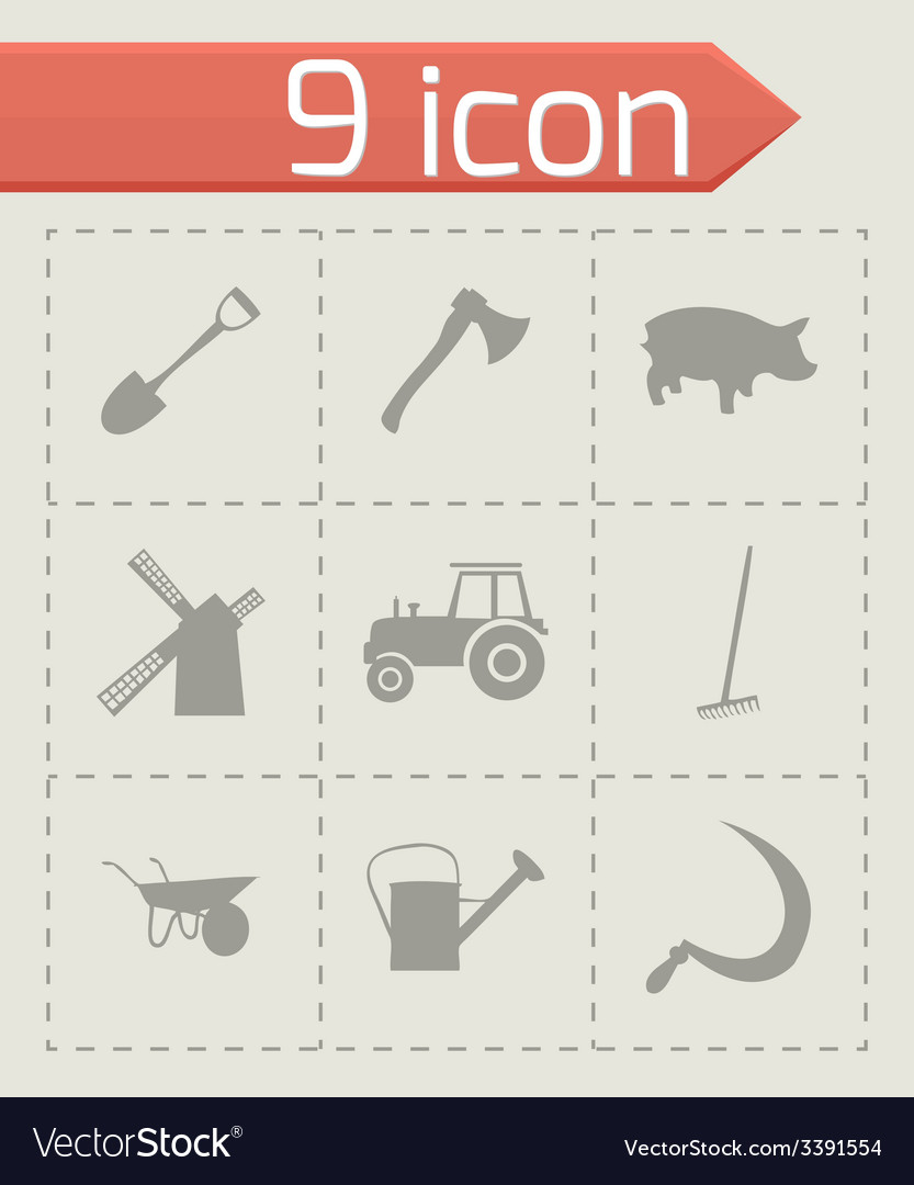 Black farming icons set vector | Price: 1 Credit (USD $1)