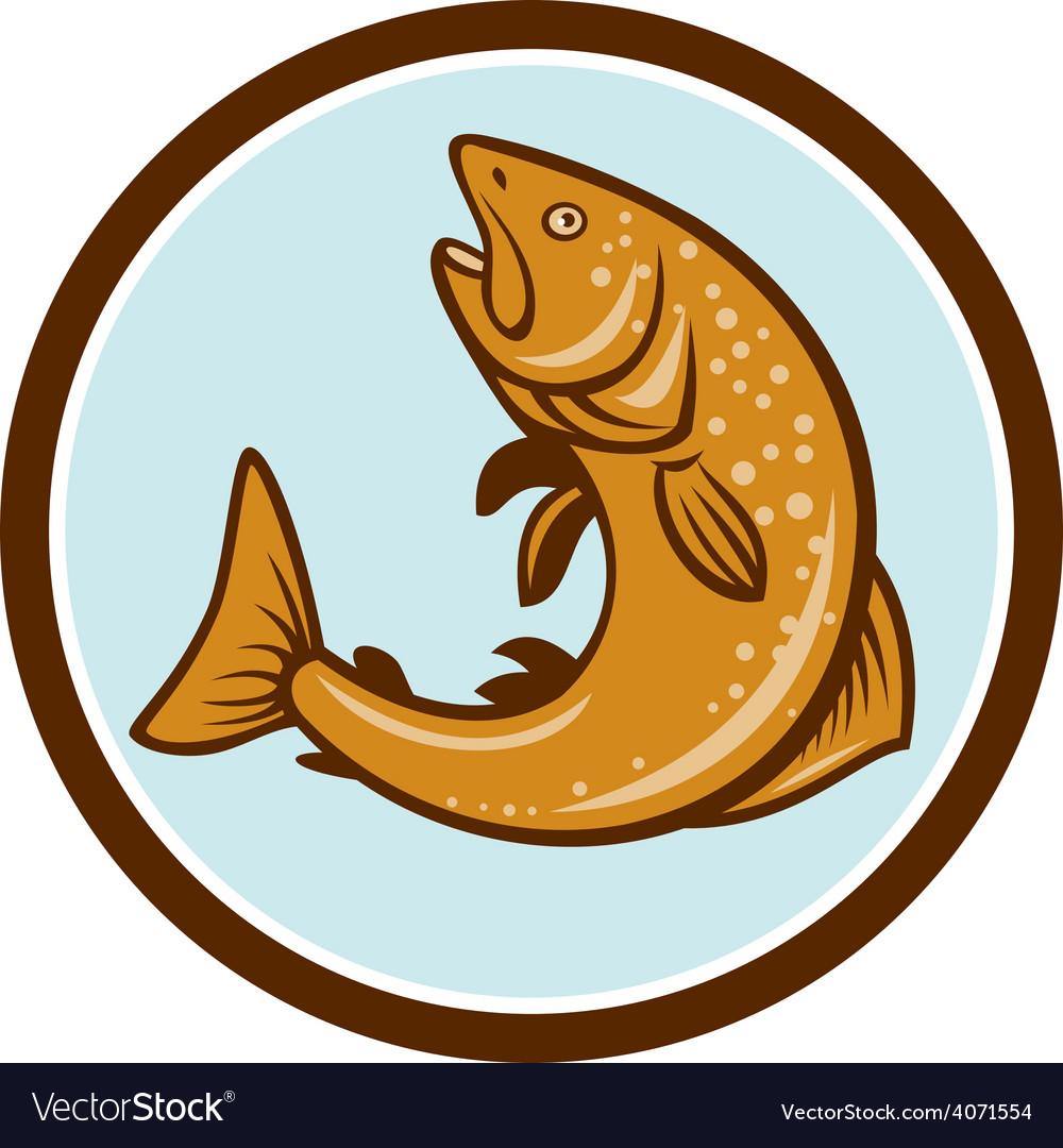 Brown trout jumping circle cartoon vector   Price: 1 Credit (USD $1)