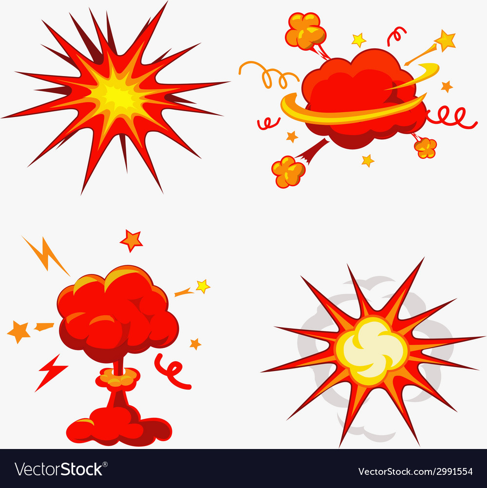 Comic book explosion bombs and blast set vector | Price: 1 Credit (USD $1)