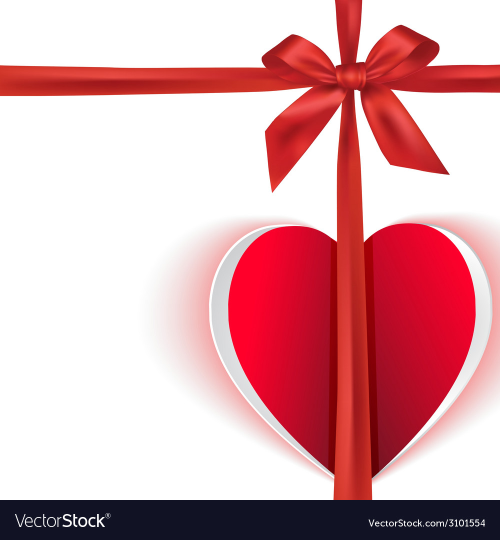 Gift bow with paper heart vector | Price: 1 Credit (USD $1)