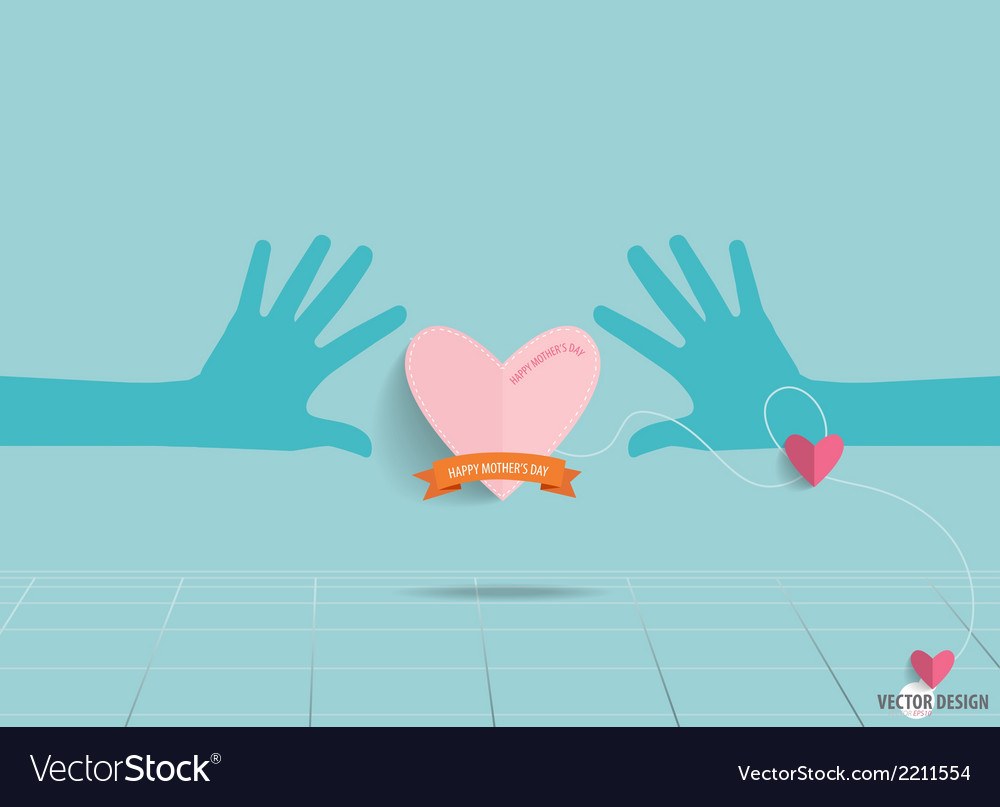 Hands holding heart heart paper with ribbon vector | Price: 1 Credit (USD $1)