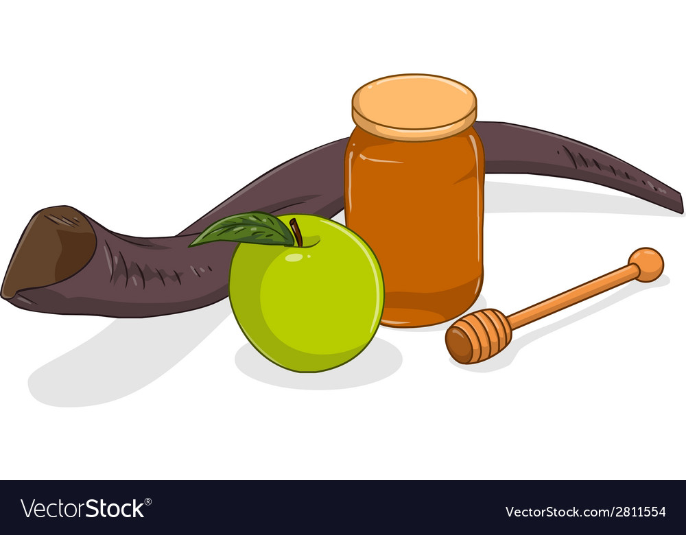 Honey jar apple and shofar for yom kippur vector   Price: 1 Credit (USD $1)