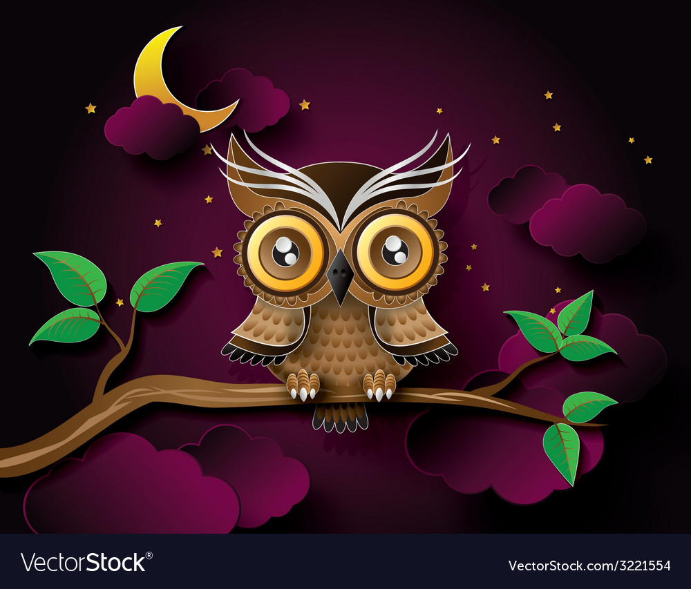 Owl with moon vector | Price: 1 Credit (USD $1)