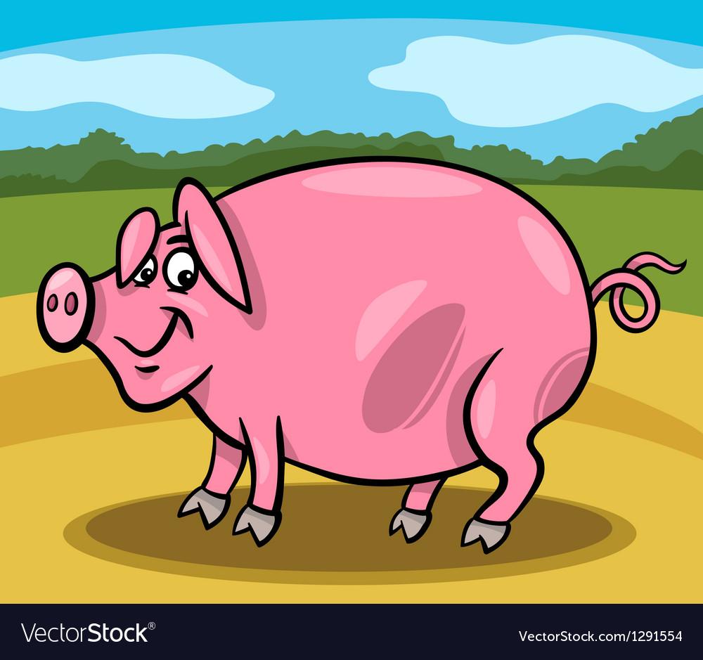 Pig farm animal cartoon vector | Price: 1 Credit (USD $1)