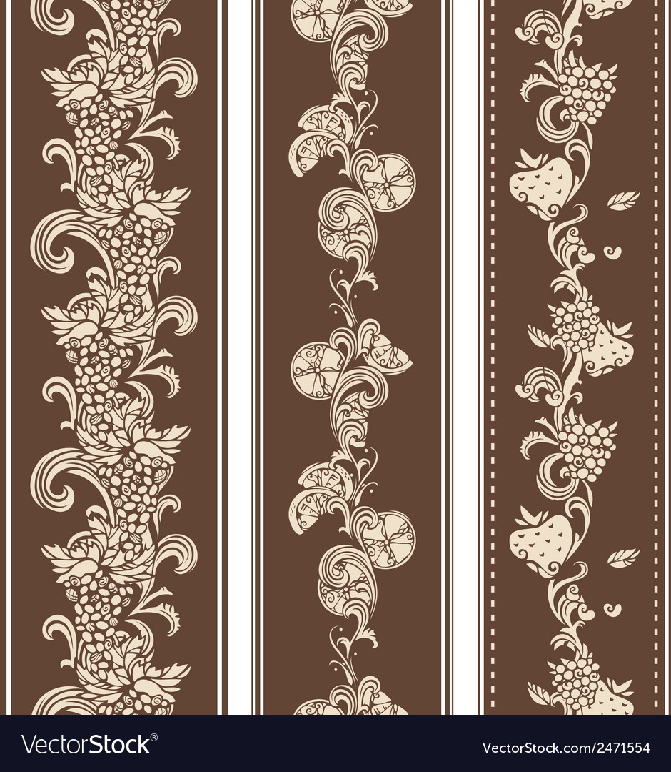 Seamless vintage fruits borders vector | Price: 1 Credit (USD $1)