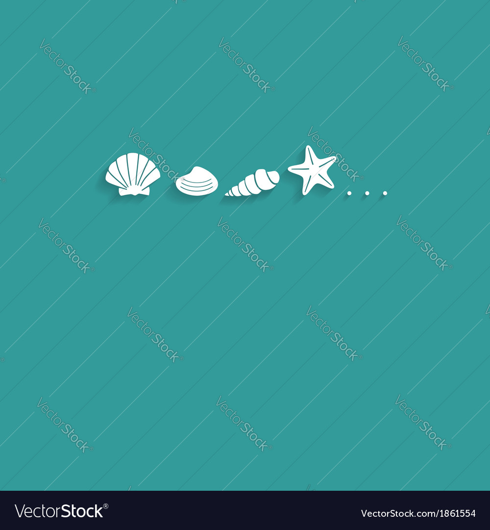 Seashells flat card vector | Price: 1 Credit (USD $1)