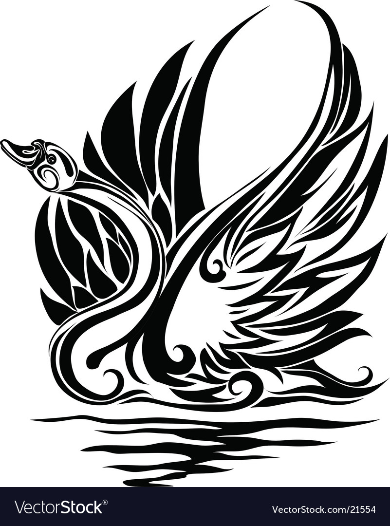 Silhouette of a swan vector | Price: 1 Credit (USD $1)