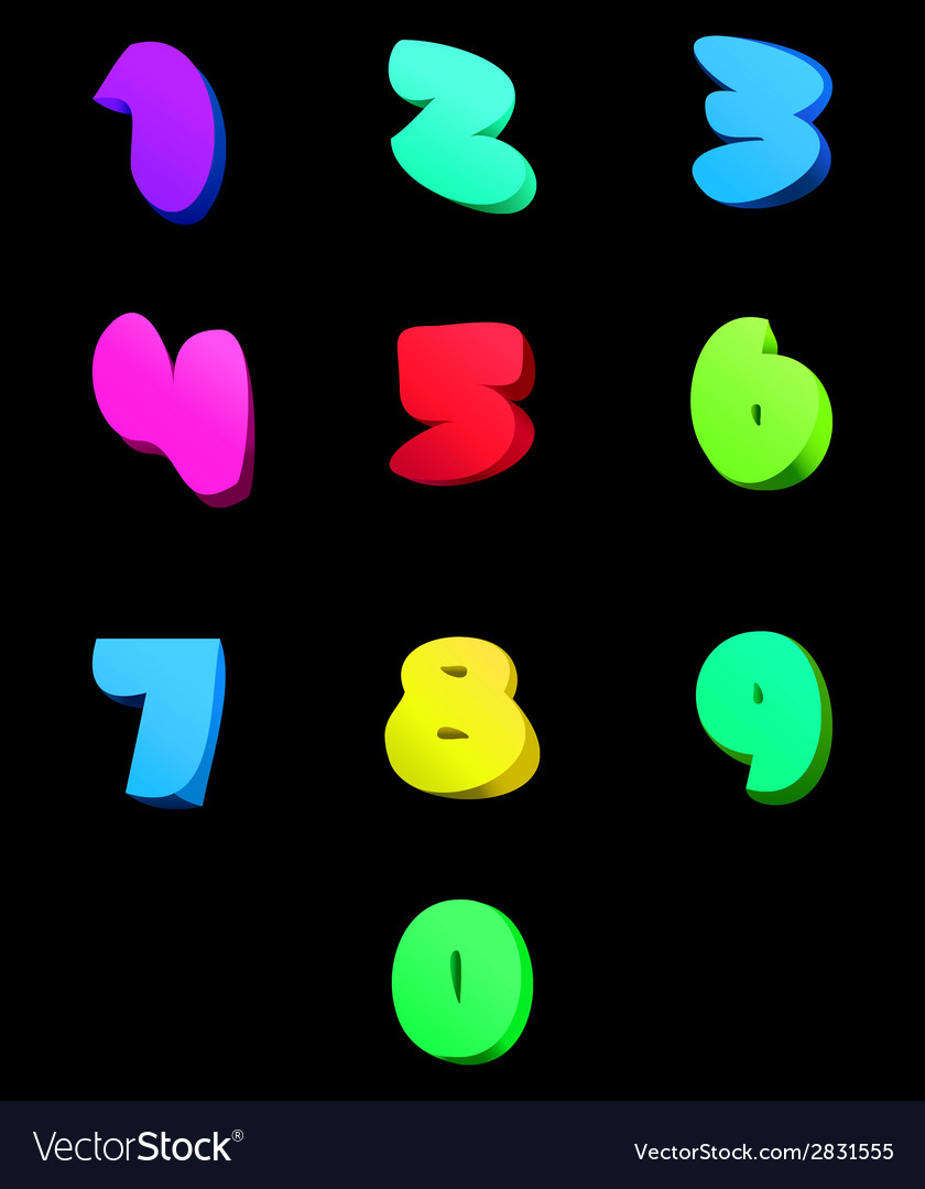 Colorful numbers set comic style vector   Price: 1 Credit (USD $1)