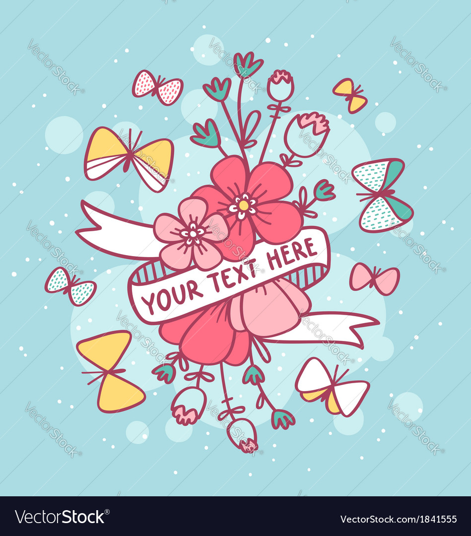 Flowers butterflies and ribbon vector | Price: 1 Credit (USD $1)