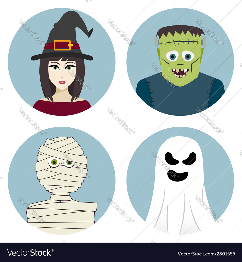 Halloween character set witch mummy ghost vector | Price: 1 Credit (USD $1)