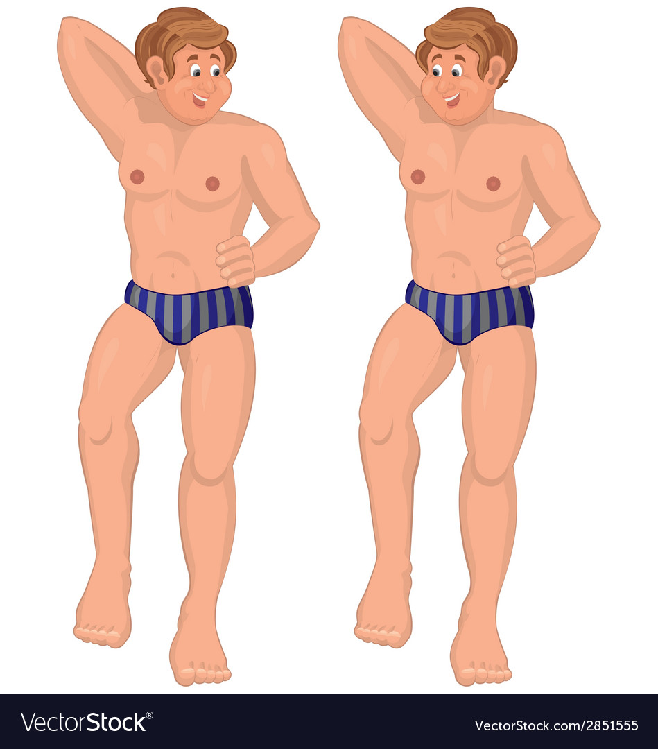 Happy cartoon man standing in swimwear vector | Price: 1 Credit (USD $1)