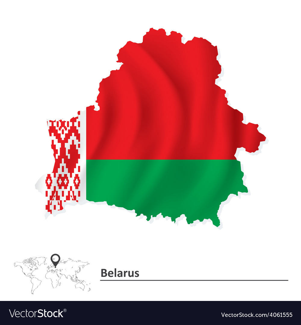 Map of belarus with flag vector | Price: 1 Credit (USD $1)