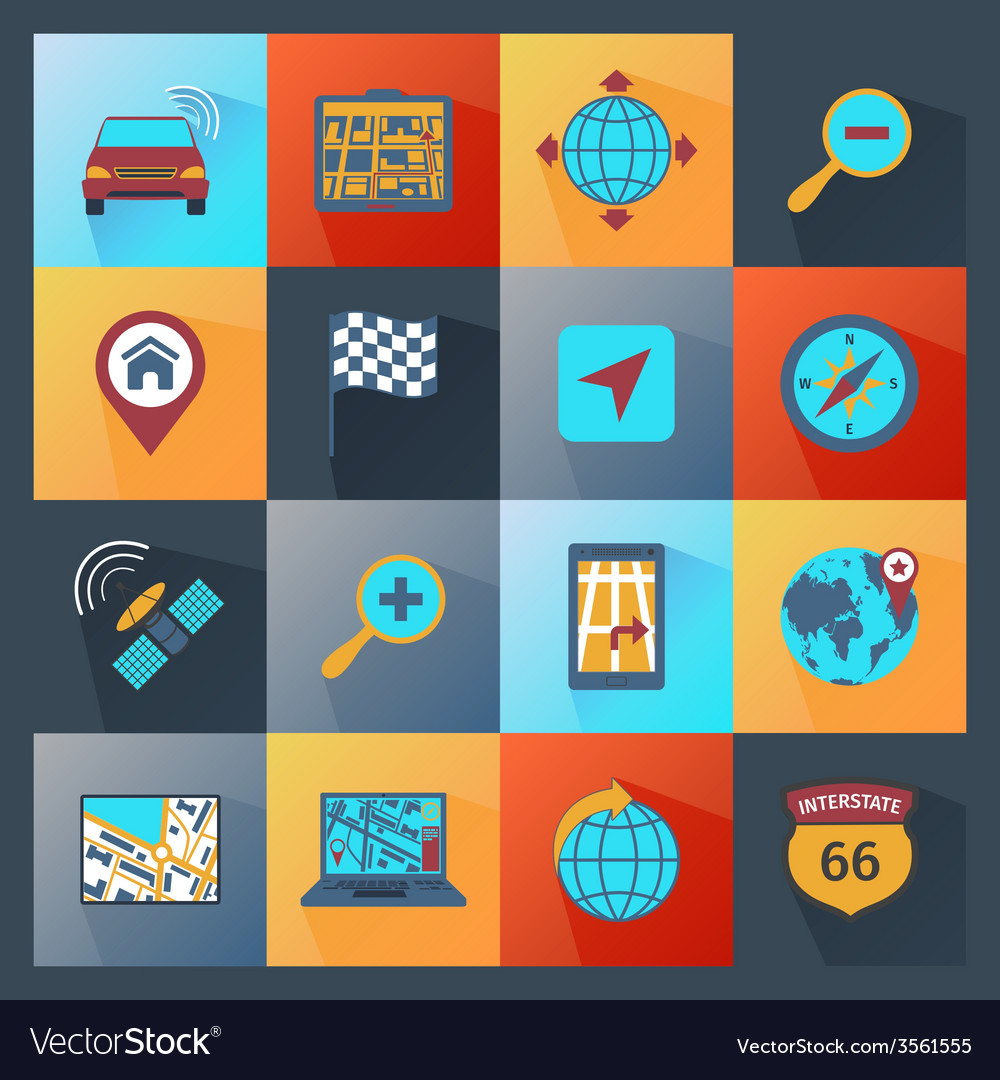 Navigation icons flat vector | Price: 1 Credit (USD $1)