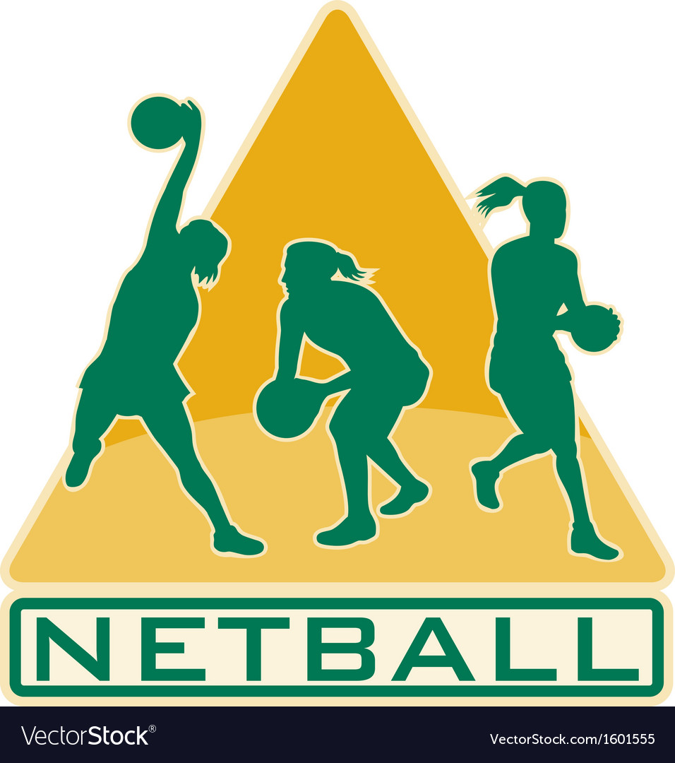 Netball player catching jumping passing ball vector | Price: 1 Credit (USD $1)