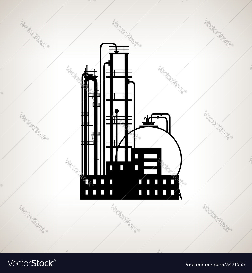 Silhouette of a chemical plant or refinery process vector | Price: 1 Credit (USD $1)
