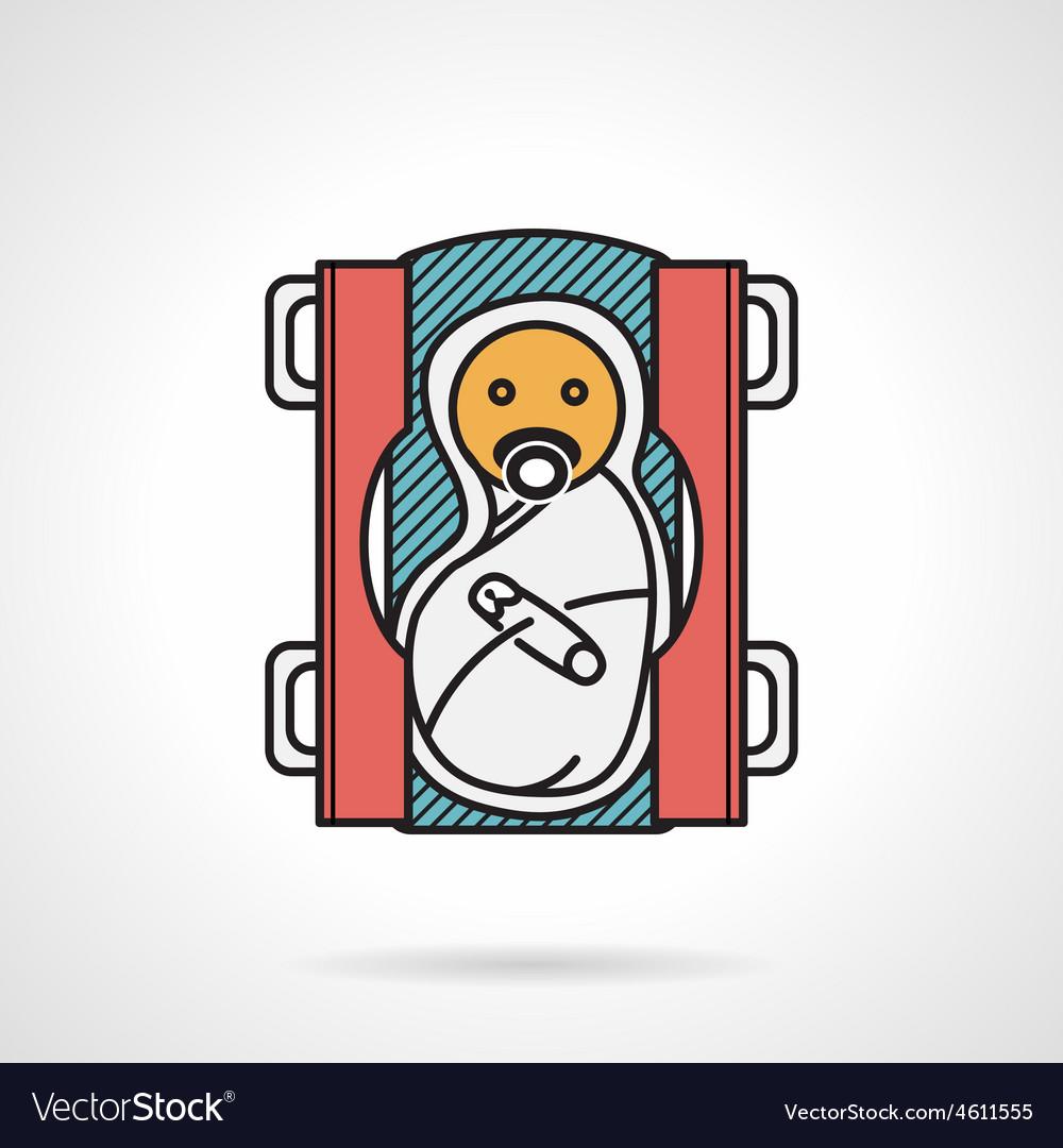 Swaddle newborn flat color icon vector | Price: 1 Credit (USD $1)