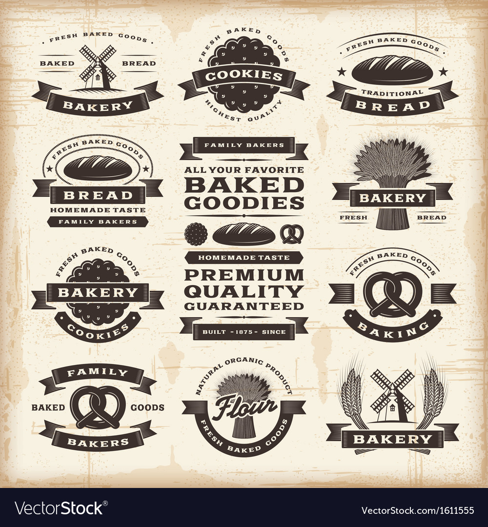 Vintage bakery labels set vector | Price: 1 Credit (USD $1)