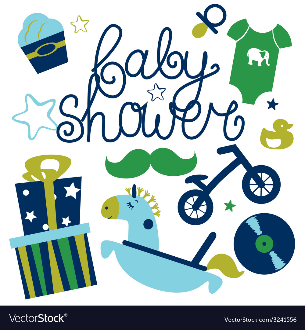 Baby shower for boy vector | Price: 1 Credit (USD $1)