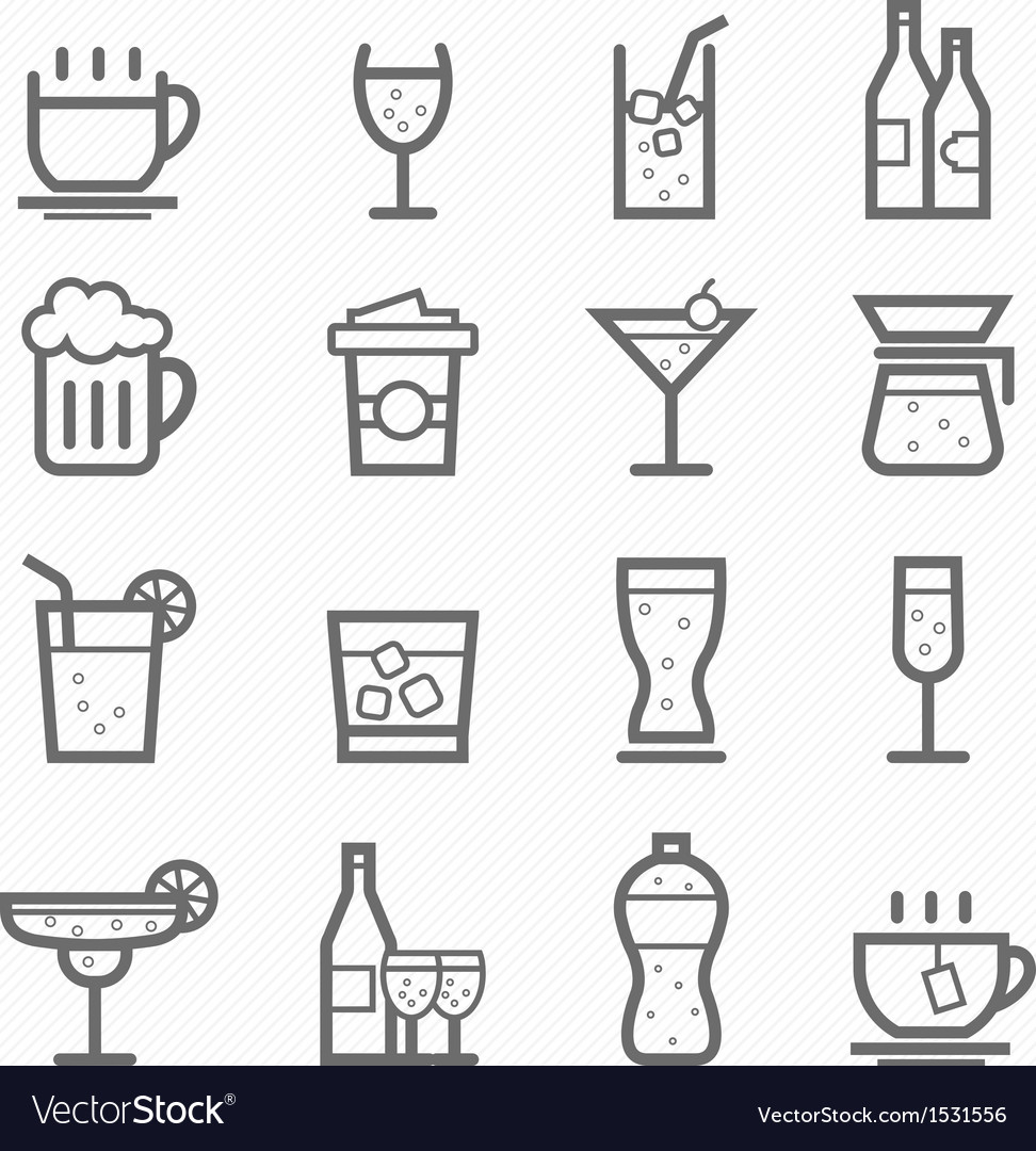 Beverage symbol line icon set vector | Price: 1 Credit (USD $1)