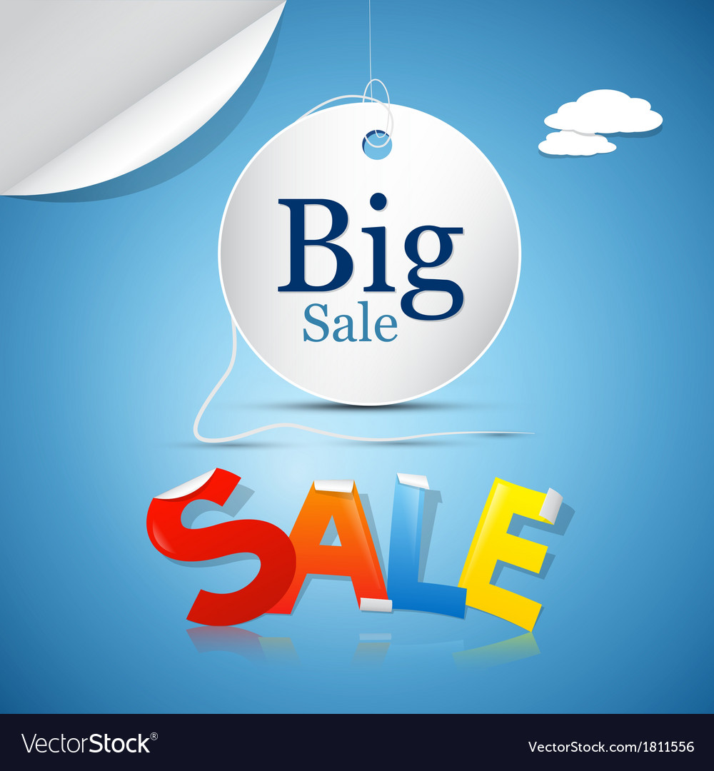 Big sale on blue sky background with clouds vector | Price: 1 Credit (USD $1)