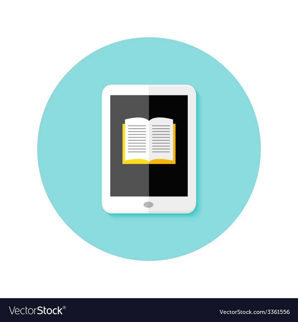 Ebook flat circle icon vector | Price: 1 Credit (USD $1)