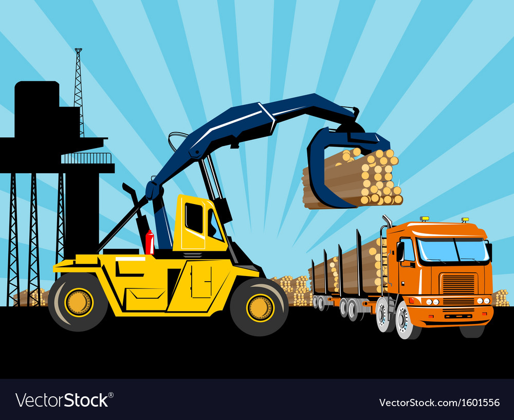 Forklift hoist crane load timber logging truck vector | Price: 1 Credit (USD $1)