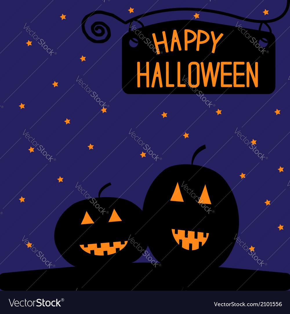 Happy halloween pumpkin card starry night vector | Price: 1 Credit (USD $1)