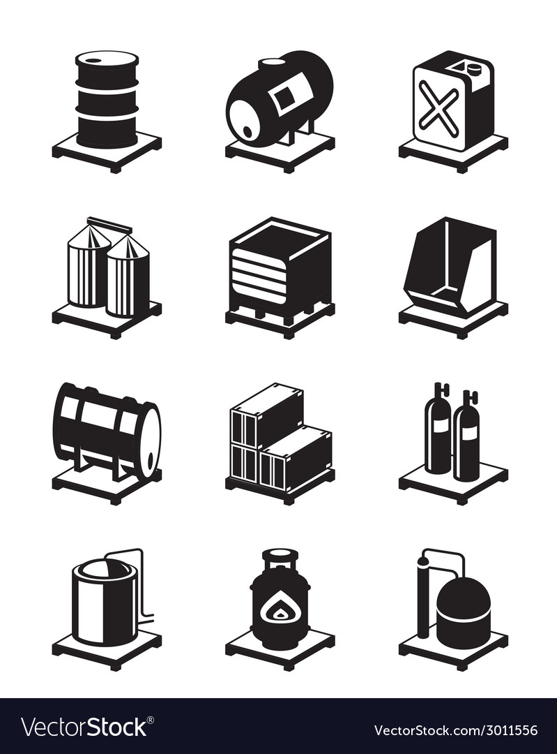 Metal containers icon set vector