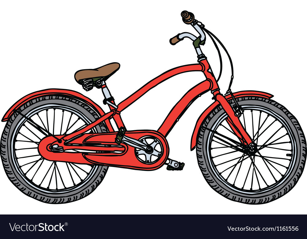 Old red bicycle vector | Price: 1 Credit (USD $1)