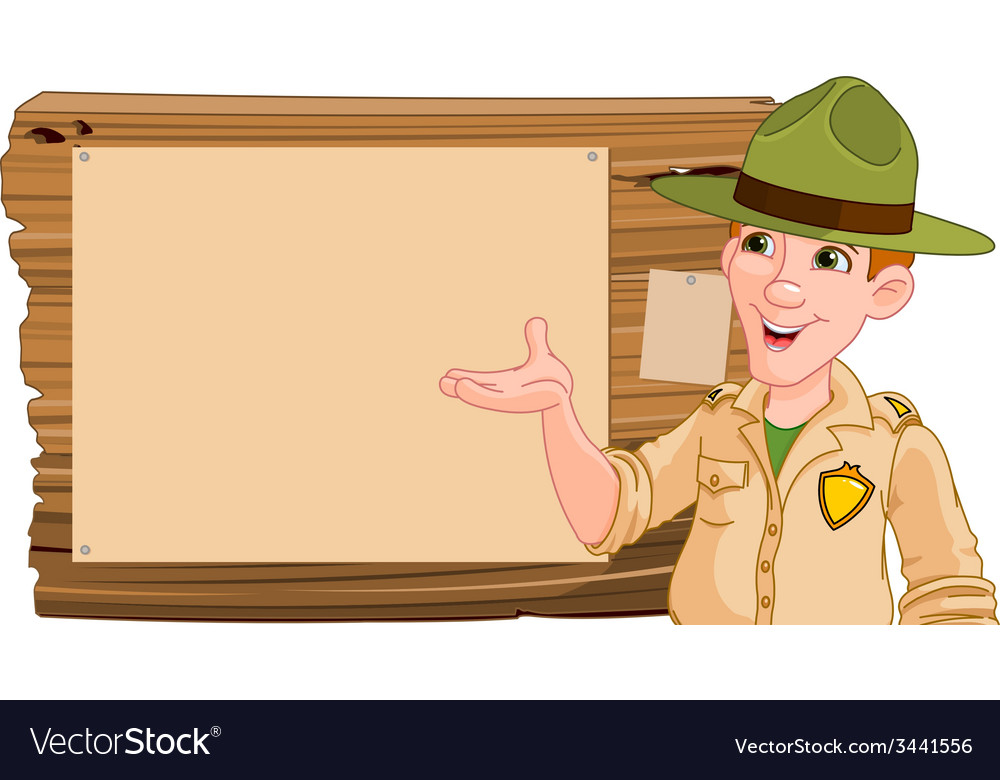 Ranger pointing at a wooden sign vector | Price: 1 Credit (USD $1)