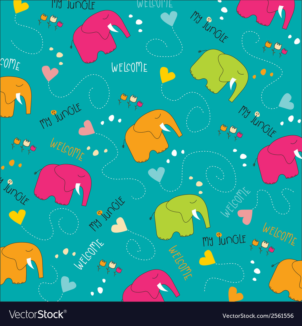Seamless baby elephant pattern vector | Price: 1 Credit (USD $1)