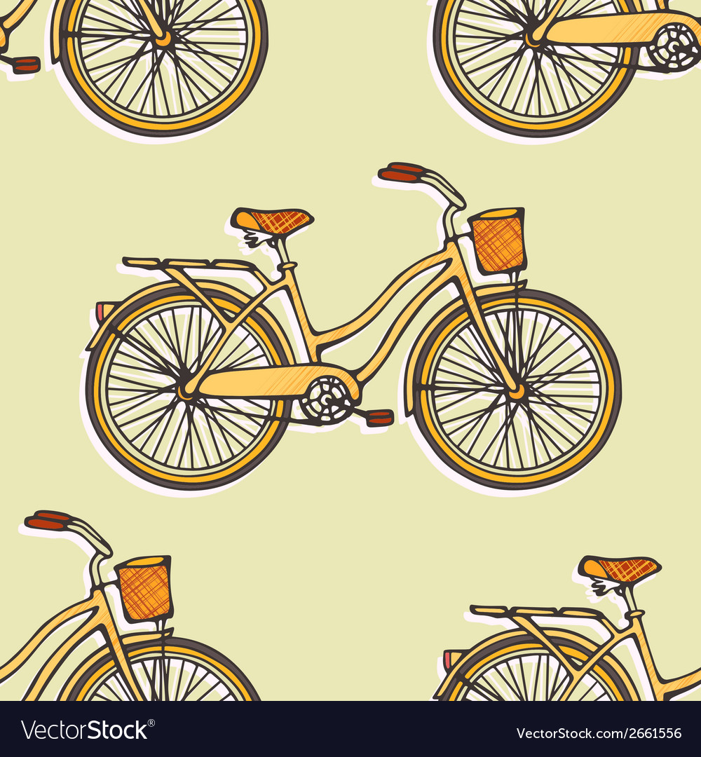 Seamless pattern with hand drawn vintage bicycles vector   Price: 1 Credit (USD $1)