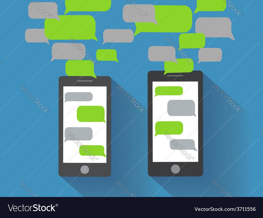 Smartphones with blank speech bubbles vector   Price: 1 Credit (USD $1)
