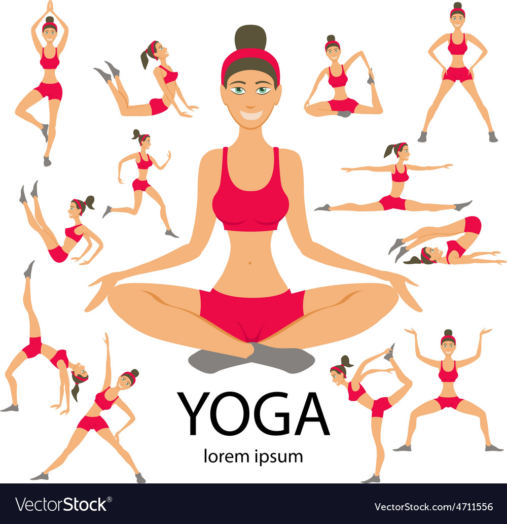 Yoga set women sketch asana girl healthy lifestyle vector   Price: 1 Credit (USD $1)