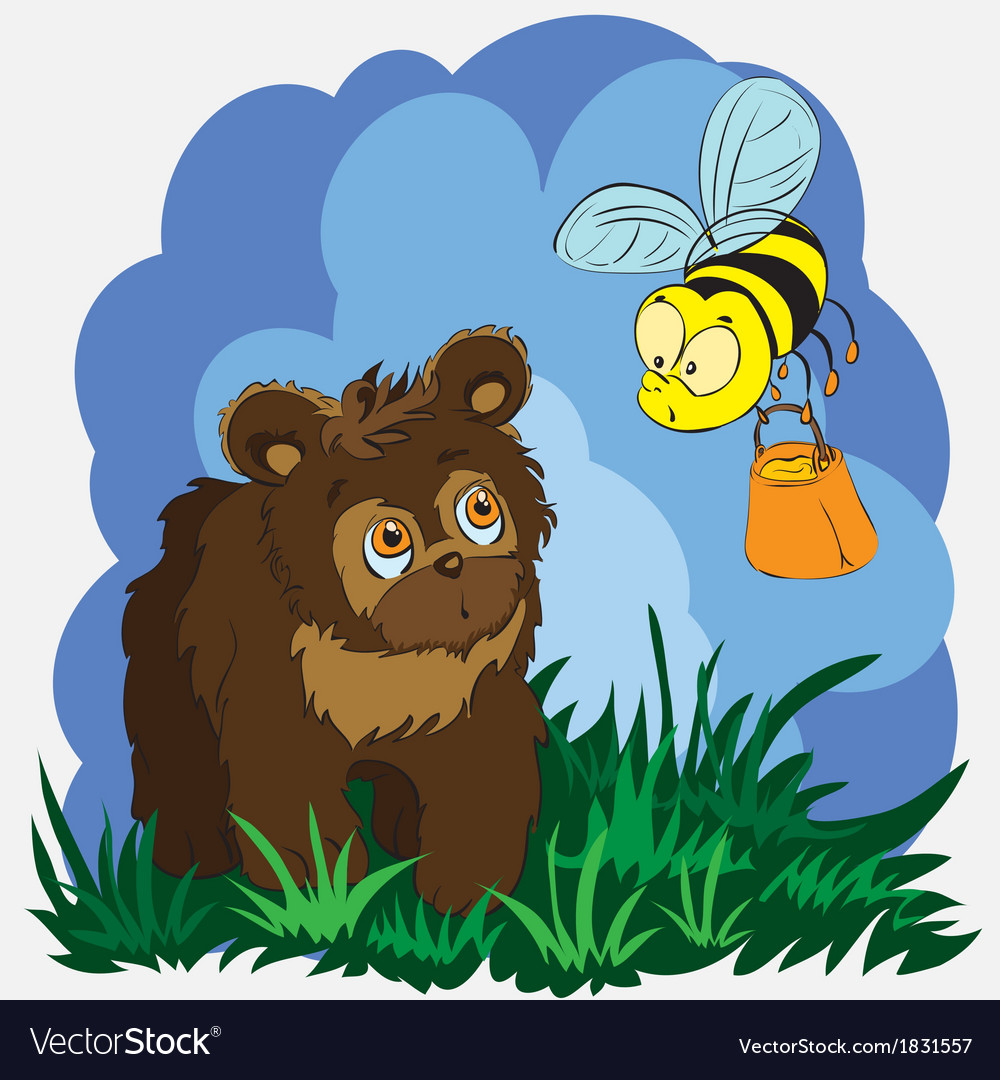 Bear and bee vector | Price: 1 Credit (USD $1)