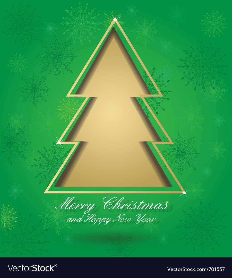 Christmas green card with tree vector | Price: 1 Credit (USD $1)