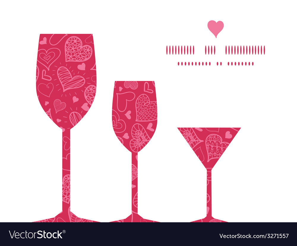 Doodle hearts three wine glasses silhouettes vector | Price: 1 Credit (USD $1)