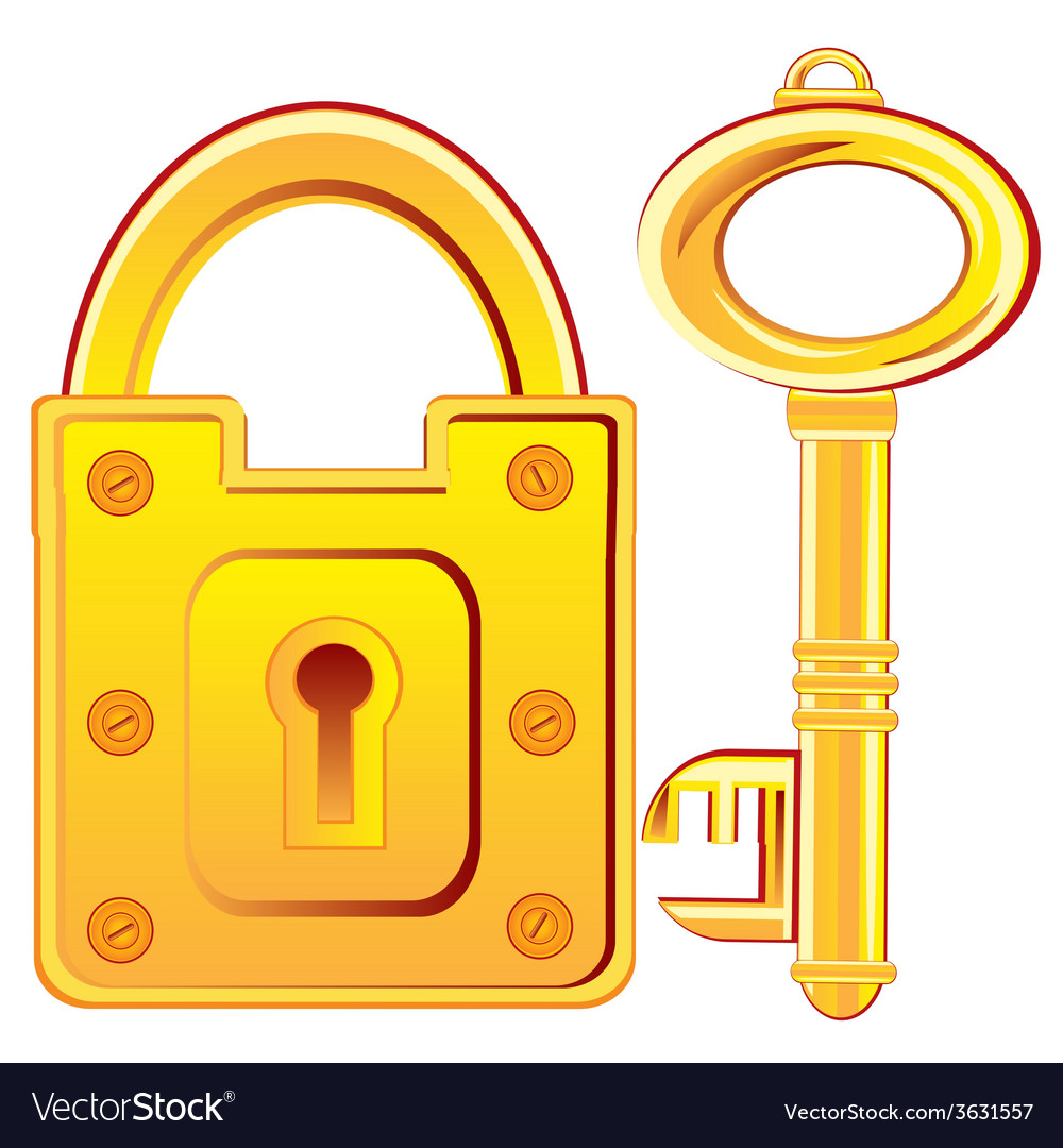 Gold lock and key vector   Price: 1 Credit (USD $1)