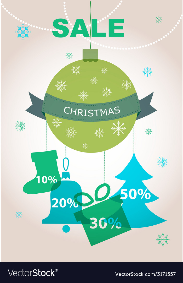 Large christmas sale decorations with discount vector | Price: 1 Credit (USD $1)