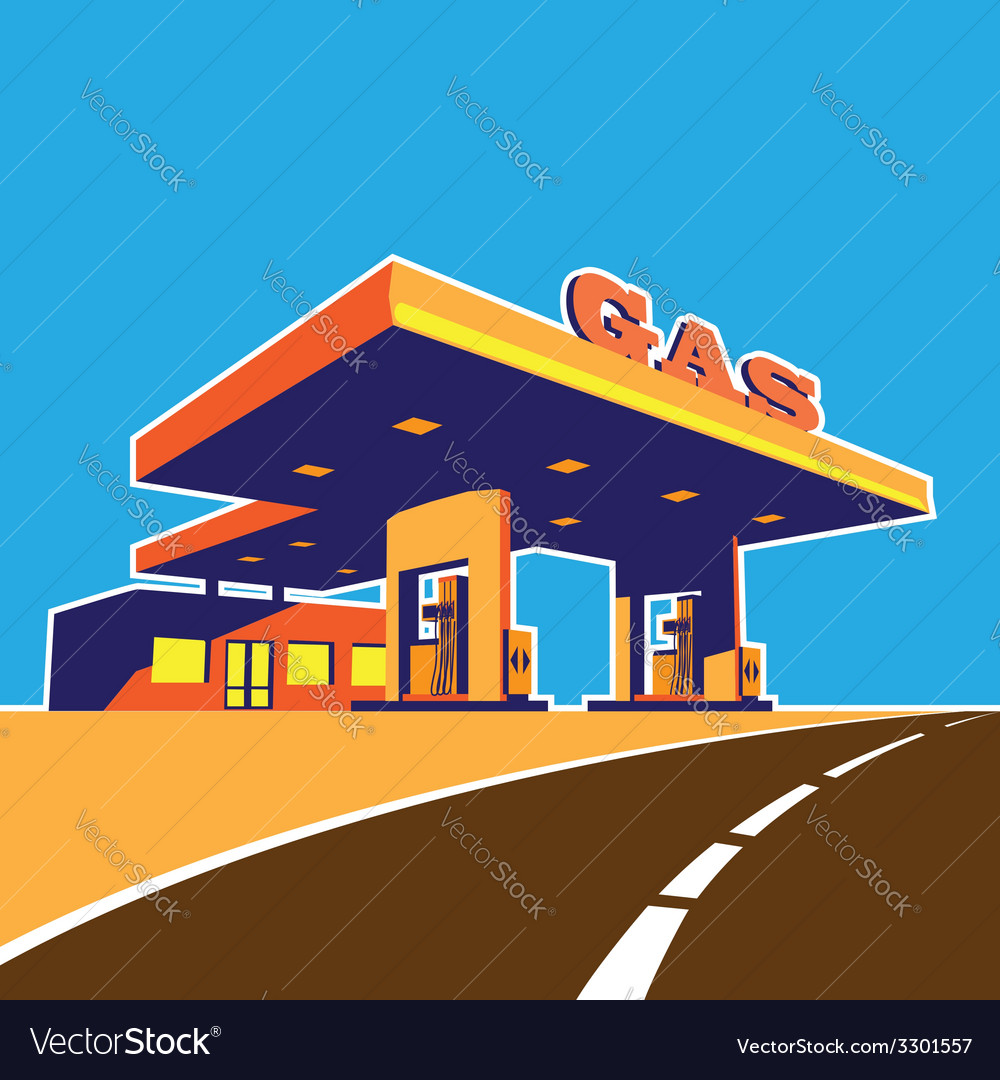 Modern petrol station vector | Price: 1 Credit (USD $1)