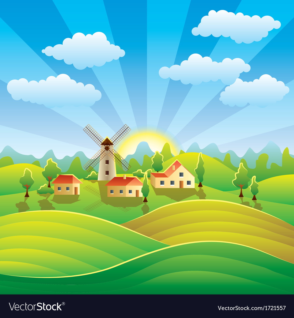 Rural scenery vector | Price: 1 Credit (USD $1)