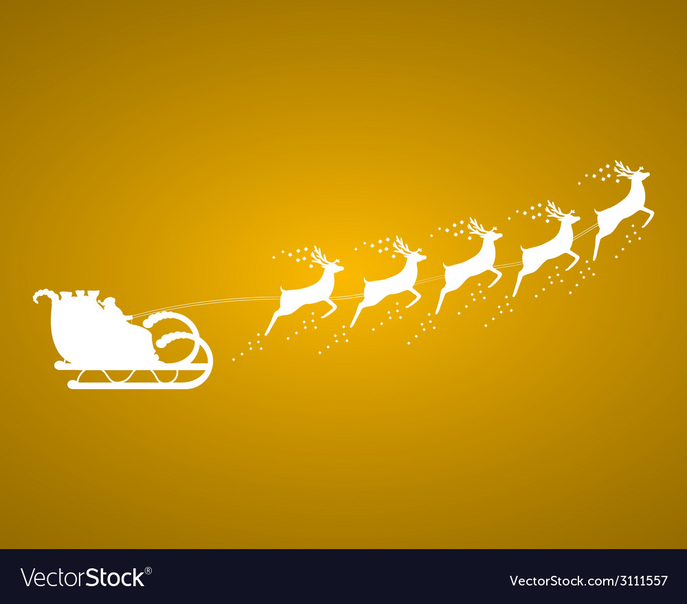 Santa claus rides in a sleigh in harness vector | Price: 1 Credit (USD $1)