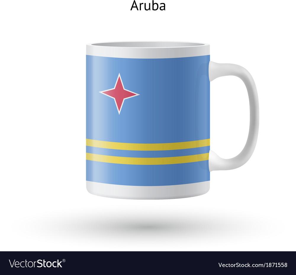 Aruba flag souvenir mug on white background vector | Price: 1 Credit (USD $1)
