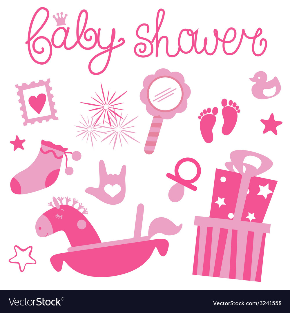 Baby shower for girl vector | Price: 1 Credit (USD $1)