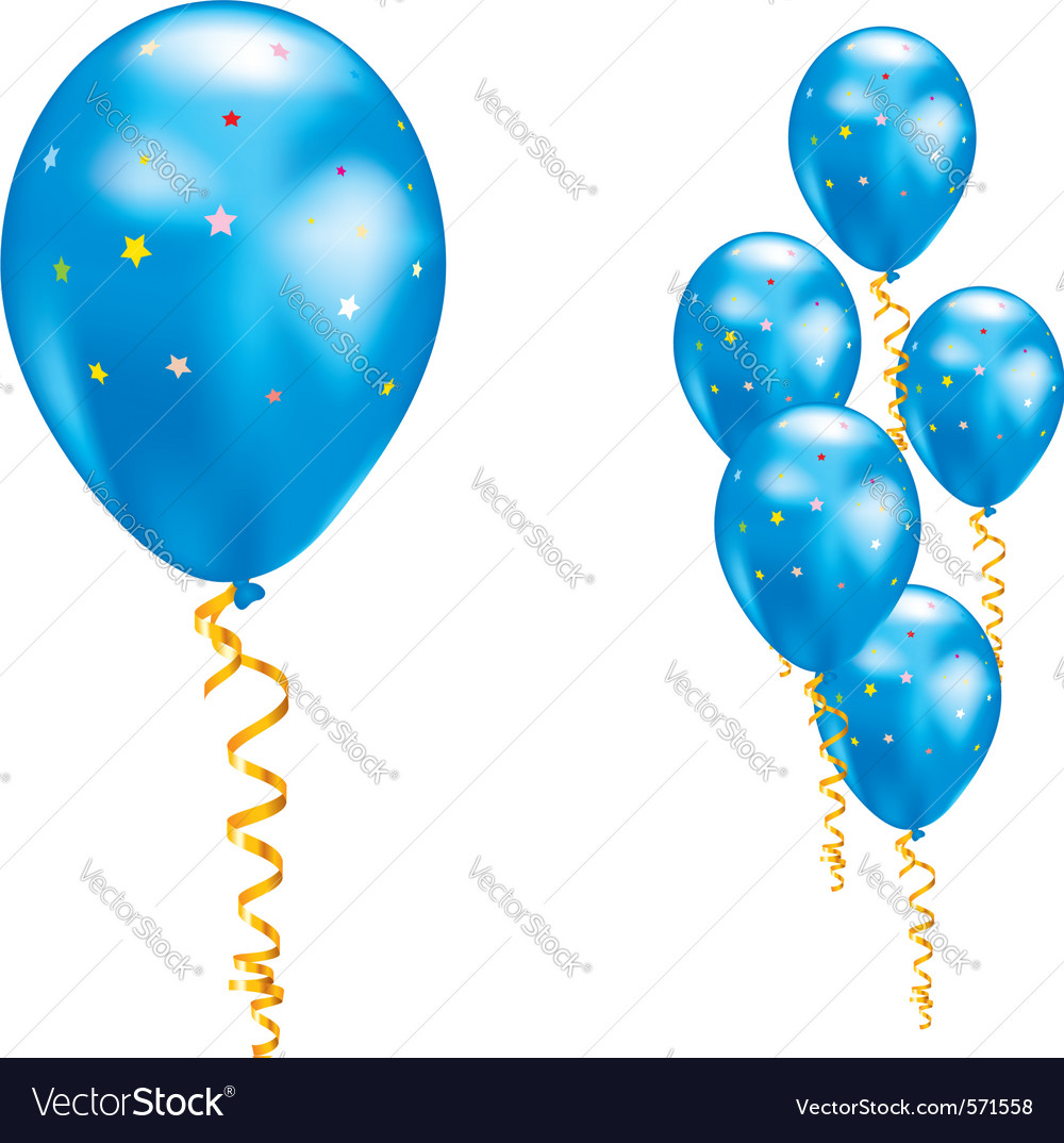 Blue party balloon vector | Price: 1 Credit (USD $1)